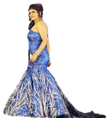 Strapless party wear gown design in blue