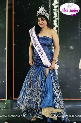Mrs India Personality Queen 2019 in a gown design from Lavender, The Boutique