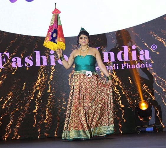 A lehenga skirt designed from a traditional kanjivaram saree and matched with a tube style blouse
