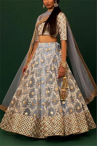 Gota Patti Work on net fabric for Slate Blue Colour Lehenga Choli