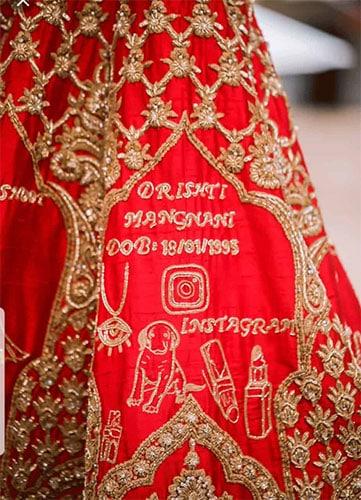 Calligraphy of Name, DOB & Instagram handle of the bride on her lehenga skirt