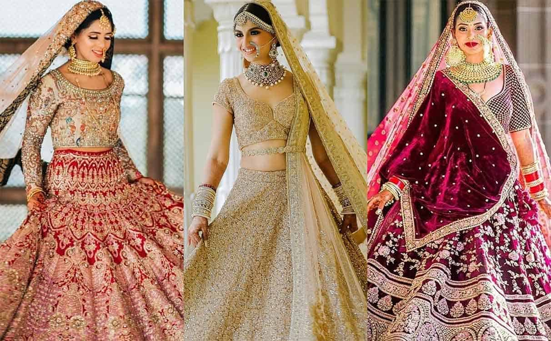 Models wearing three kinds of lehenga blouse designs