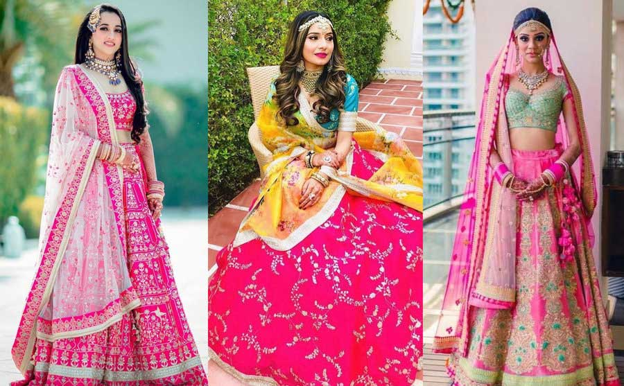 a collage of different colour combos used in lehenga dress designs