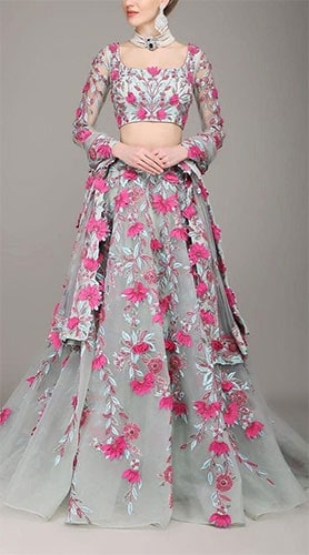 3d applique work on net fabric carving out grey flowers on the lehenga blouse designs