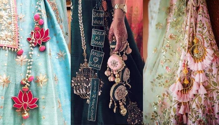 three types of tassels or latkans attached to the lehenga skirt