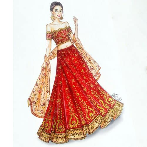 an artists sketch of the Indian bridal lehenga with blouse and dupatta