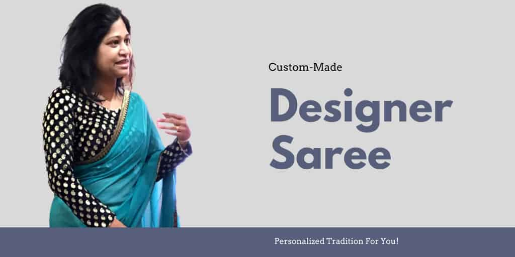 A designer saree and a contrast blouse designed for client Geeta