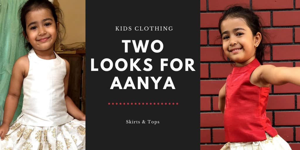 two different kids skirt & blouse looks created for little girl Aanya